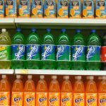 soft drinks on a shelf