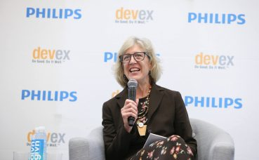 Dr Rachel Nugent speaking at a Devex event
