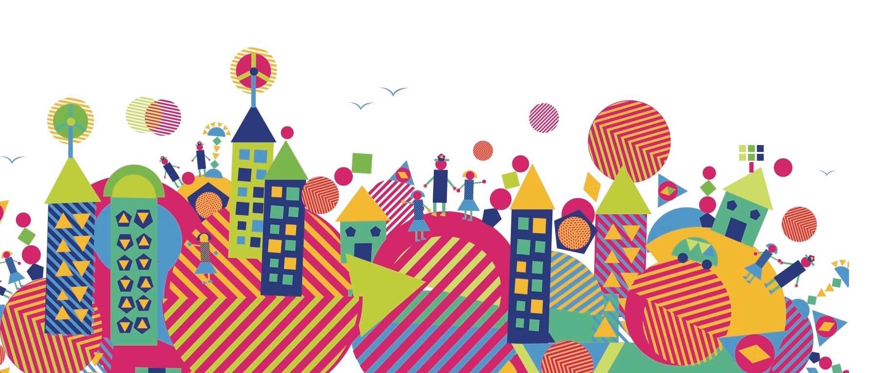 Vibrantly coloured design of community engagement